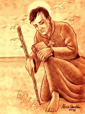 RENOVAÇÃO A ilustração do padre José de Anchieta escrevendo na areia (Foto: Alfredo Cherubino)