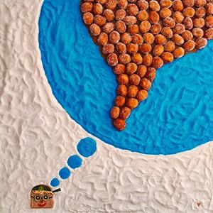 Um Mundo de Sonhos: sonhos de creme, açúcar cristal branco e azul são os ingredientes que constroem o mundo desse garotinho feito de pão de forma integral, pepino japonês, tomate, azeitona preta e queijo mozarela ralado (Foto: Divulgação)