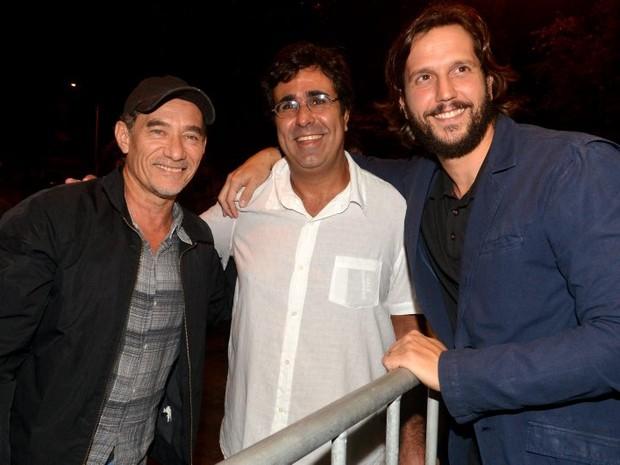 Chico Diaz, Orã Figueiredo e Vladimir Brichta em pré-estreia de filme no Centro do Rio (Foto: Cristina Granato/ Divulgação)