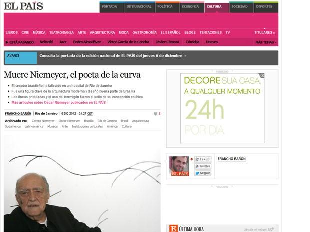 O jornal espanhol 'El País', já no título, chama Niemeyer de 'o poeta da curva'; o texto cita a confessa influência que a paisagem do Rio de Janeiro teve sobre o arquiteto (Foto: Reprodução)