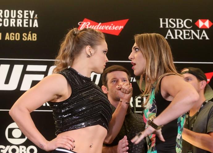 Ronda Rousey e Bethe Correia encarada UFC 190 (Foto: André Durão)