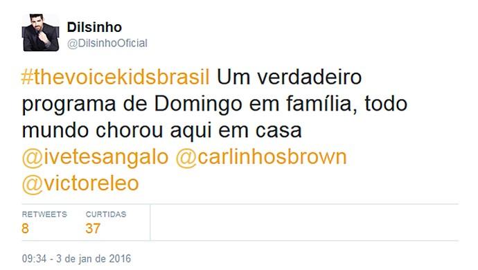 O cantor Dilsinho fala da emoção do programa em família (Foto: Reprodução/Internet)