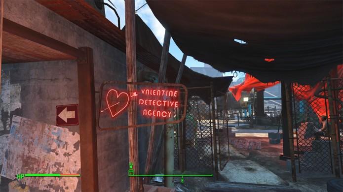Procure pela placa da Agência de Detetive Valentine na Diamond City de Fallout 4 (Foto: Reprodução/Depressed Press)