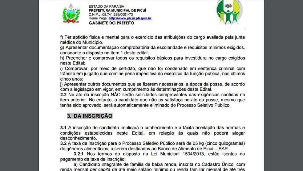 Edital do processo seletivo foi publicado no site da prefeitura de Picuí (Foto: Reprodução/Prefeitura Municipal de Picuí)