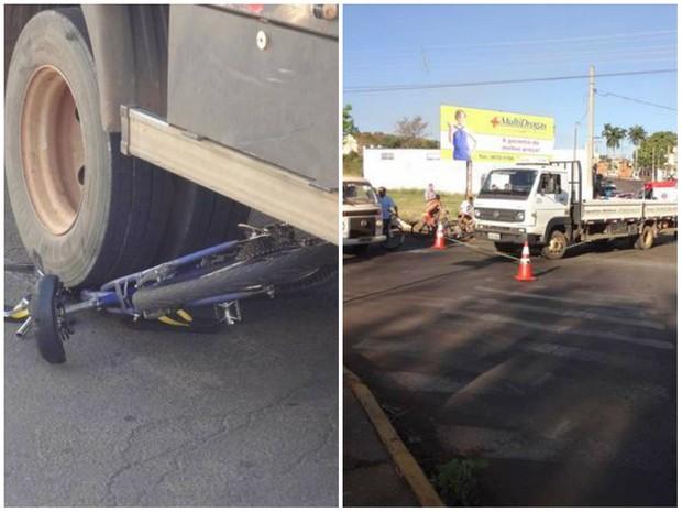 Colisão entre bicicleta e caminhão mata rapaz de 24 anos em Santa Cruz das Palmeiras (Foto: José Carlos Bizaia/ TV Super Ativa)