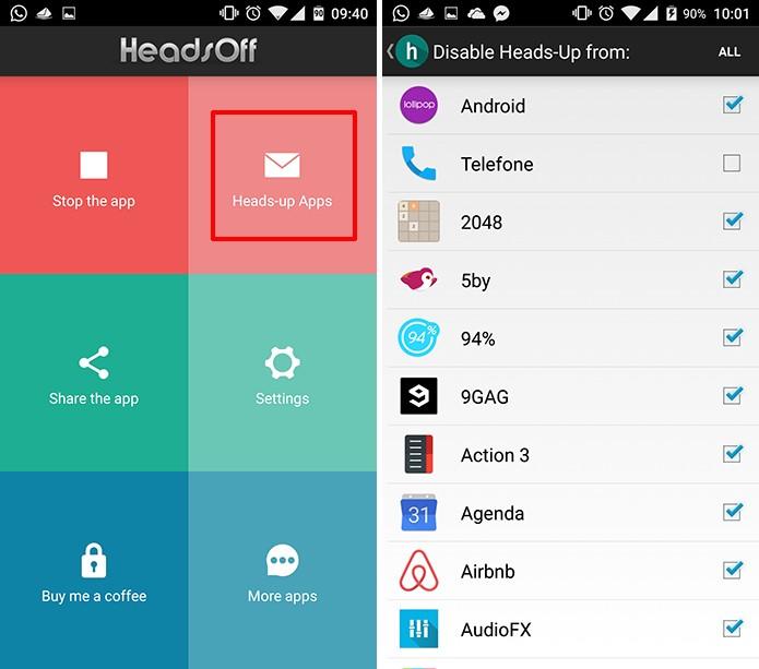 HeadsOff pode ter permissão negada para alterar notificações de alguns aplicativos (Foto: Reprodução/Elson de Souza)