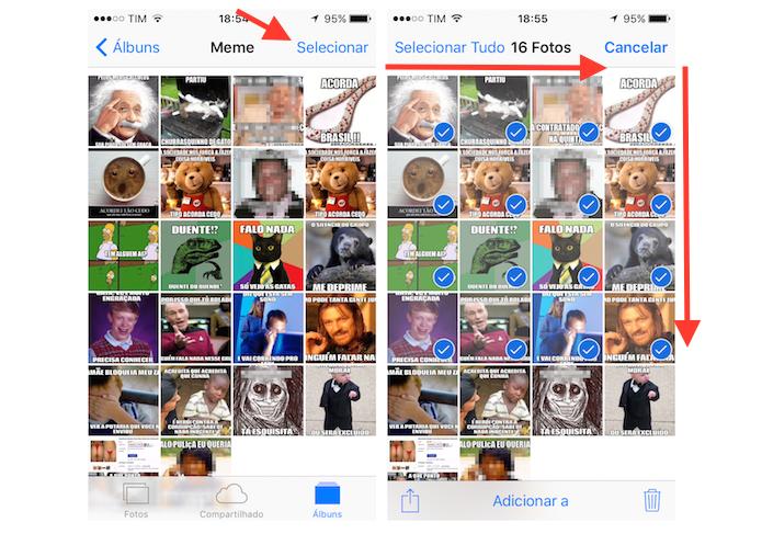 Selecionando várias fotos de uma só vez na biblioteca do iPhone (Foto: Reprodução/Marvin Costa)
