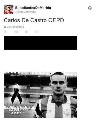 Carlos de Castro faleceu em acidente - Estudiantes de Mérida (Foto: twitter)