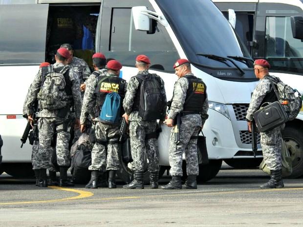 Homens vão reforçar segurança em Manaus (Foto: Adneison Severiano/G1 AM)
