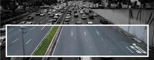 ENGARRAFAMENTO NAS FÉRIAS O trânsito na Avenida 23 de Maio, em São Paulo, no meio de uma tarde da semana passada, fora do horário de pico. A opção pelo carro não é mais sinônimo de conforto e rapidez  (Foto: Rogério Cassimiro/ÉPOCA e Tuca Vieira/Folhapress)
