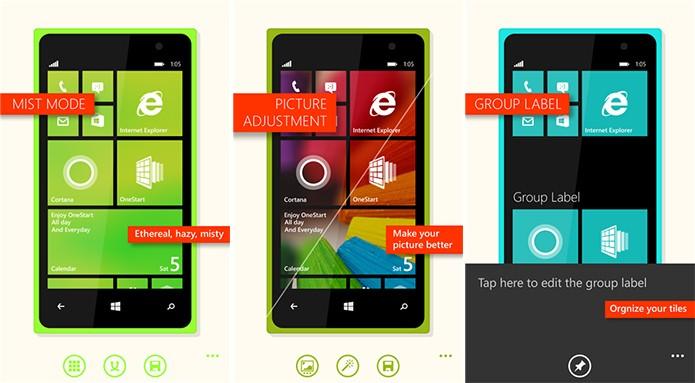 OneStart é um aplicativo para Windows Phone que ajuda a personalizar a tela inicial do sistema (Foto: Divulgação/Windows Phone Store)
