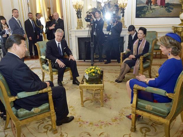 Presidente chinês e belga participam de reunião no Palácio Real, em Bruxelas (Foto: Didier Lebrun/Belga/AFP)