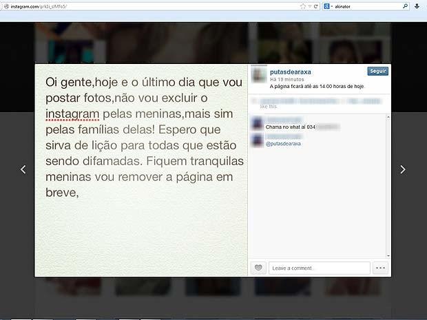 Instagram Araxá putas de Araxá (Foto: Reprodução/Instagram)