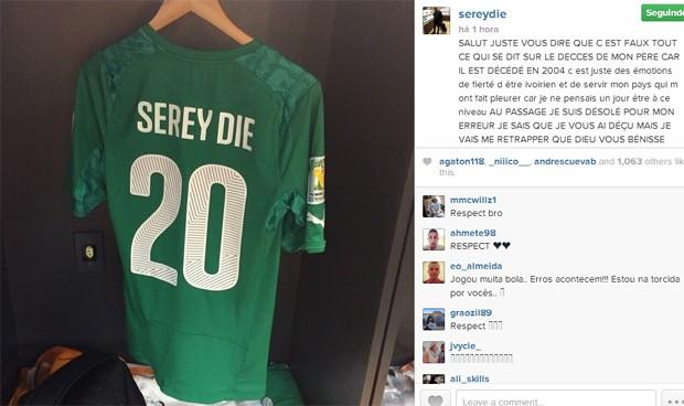 O jogador marfinense negou que ficou sabendo da morte de seu pai duas horas antes da partida contra a Colômbia (Foto: Reprodução / Instagram)