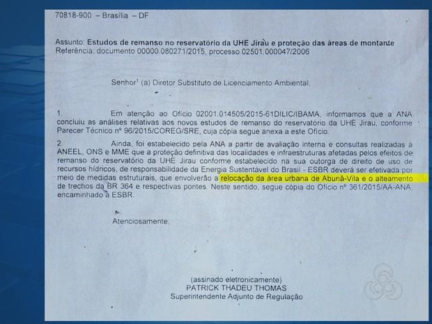 Após relatório, Ana pede remanejamento de moradores do local (Foto: Rede Amazônica/ Reprodução)