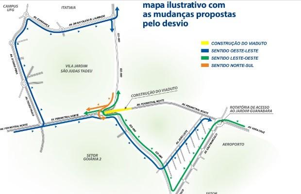 Veja como devem ficar os desvios em Goiânia, Goiás (Foto: Divulgação/ Agetop)