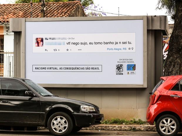 Campanha racismo na internet Porto Alegre (Foto: Criola/Divulgação)