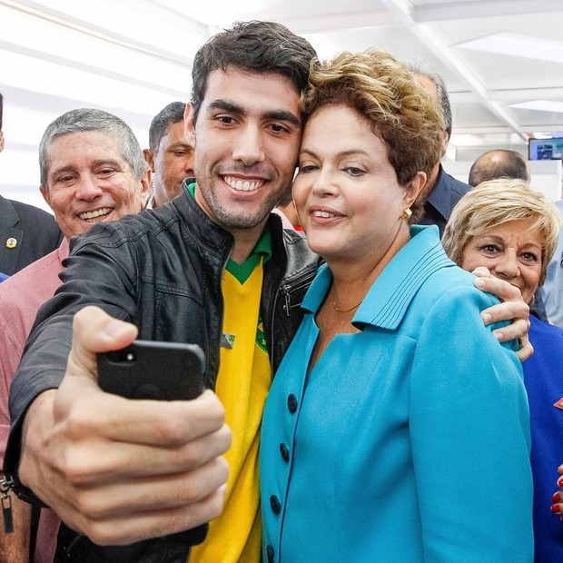 Jeferson Monteiro, criador da Dilma Bolada, com a presidente Dilma (Foto: Reprodução Facebook)