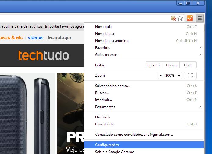 Acessando a opção Configurações do Chrome (Foto: Reprodução/Edivaldo Brito)