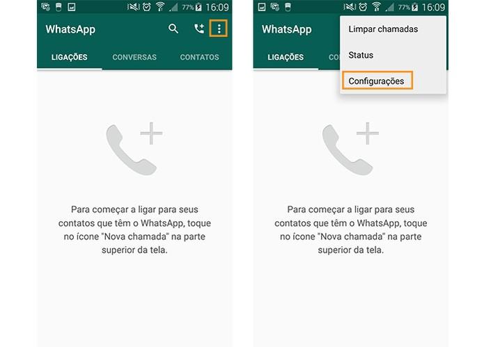 Acesse as configurações do WhatsApp no Android (Foto: Reprodução/Barbara Mannara)