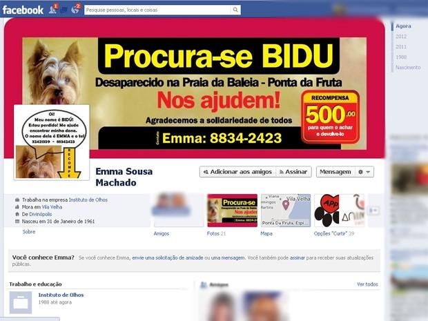 Página usada na busca do cão, em Vila Velha. (Foto: Reprodução/ Internet)