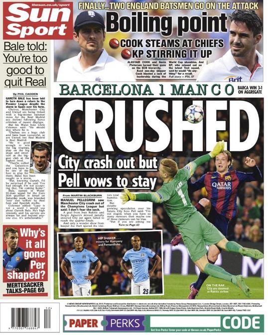Capa The SUn - Barcelona x Manchester City