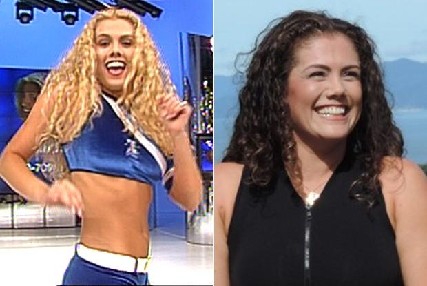 Liane, ex-BBB7, na época do concurso do Tchan e hoje (Foto: TV Globo e Géssica Valentini / RBS TV SC)