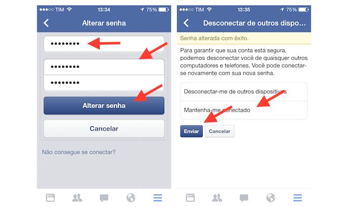 Alterando a senha do Facebook pelo iPhone (Foto: Reprodução/Marvin Costa)