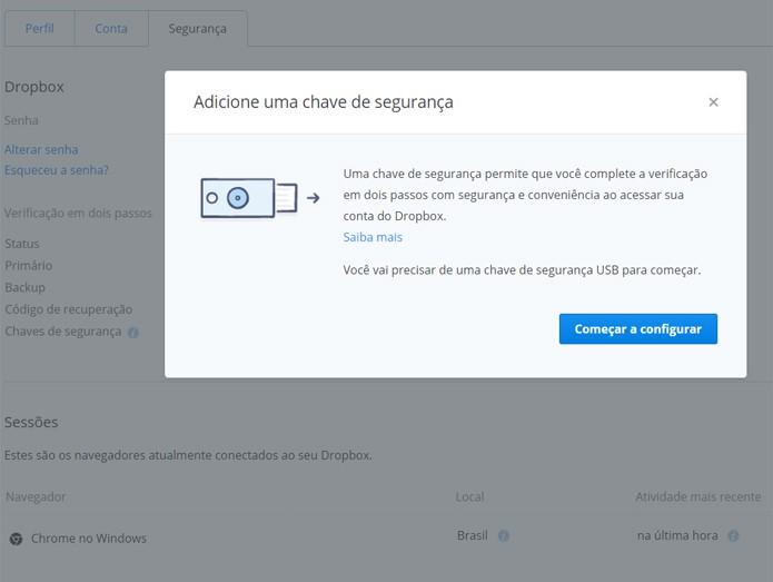 Para autorizar a sua chave, basta acessar as configurações da sua conta no Dropbox (Foto: Reprodução/Filipe Garrett)