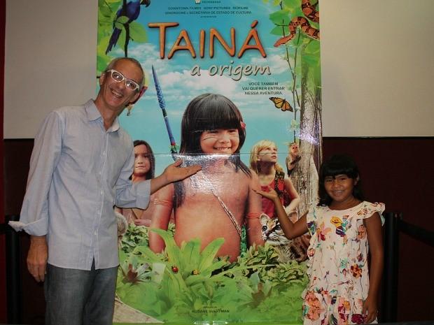 Atriz e produtor visitaram Manaus neste domingo (Foto: Girlene Medeiros / G1 AM)