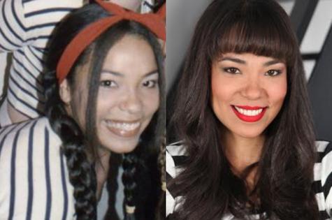 Micheli Machado como angelicat e atualmente (Foto: Reprodução)