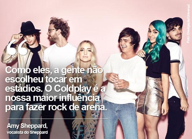 A banda australiana Sheppard, com Amy de cabelo azul (Foto: Divulgação/Universal)