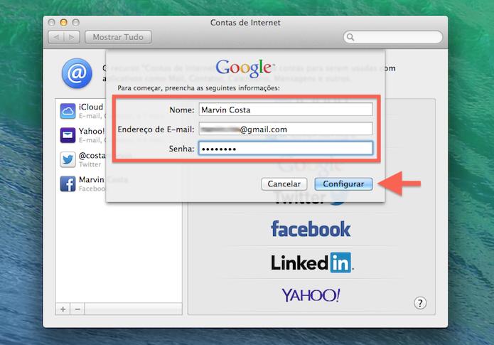 Fornecendo os dados de login do Google no Mac OS X (Foto: Reprodução/Marvin Costa)