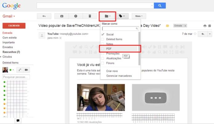 """Abra um e-mail no seu Gmail e aplique o marcador """"PDF"""" para salvar uma cópia no seu Google Drive (Foto: Reprodução/Elson de Souza)"""