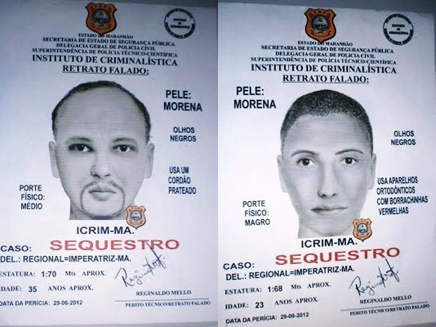 Retrato falado dos dois homens suspeitos de sequestrar menino em Imperatriz (Foto: Superintendência de Polícia Técnico-científica)