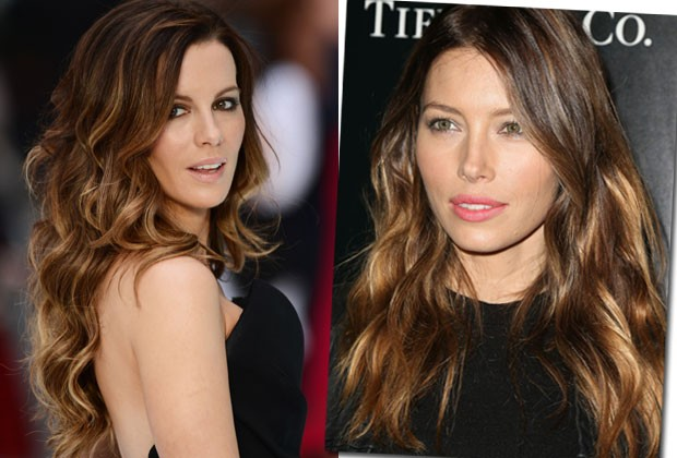 Kate Beckinsale e Jessica Biel têm o tom Cacau Blonde (Foto: Getty Images)