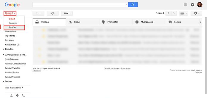 Gmail possui lista de tarefas embutidas na versão web do serviço (Foto: Reprodução/Elson de Souza)