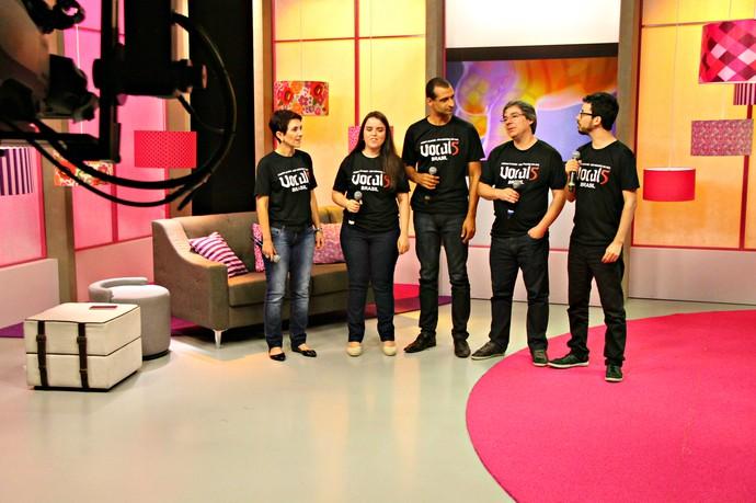 Grupo Vocal5 Mistura com Rodaika Quadro A Cappella Domingão do Faustão (Foto: Maicon Hinrichsen/RBS TV)