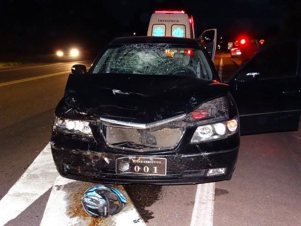 Carro do prefeito atingiu e matou motociclista em São João da Boa Vista (Foto: Gazeta de Vargem Grande)