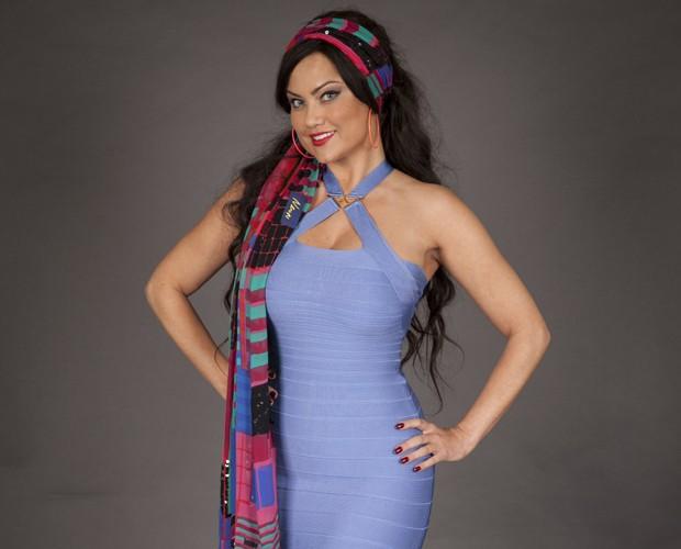 Ellen Rocche caracterizada como Dona Capitu, sua personagem  (Foto: Divulgação/TV Globo)