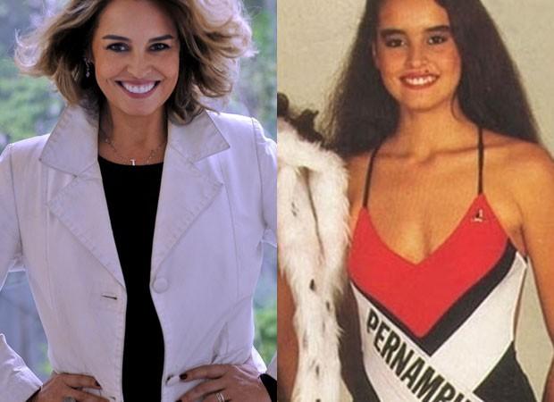 Suzy Rêgo atualmente e aos 17 anos, quando foi Miss Pernambuco (Foto: Divulgação/Destac Assessoria e Reprodução)