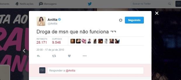 Anitta reclama do MSN em tweet antigo (Foto: Reprodução/Twitter)