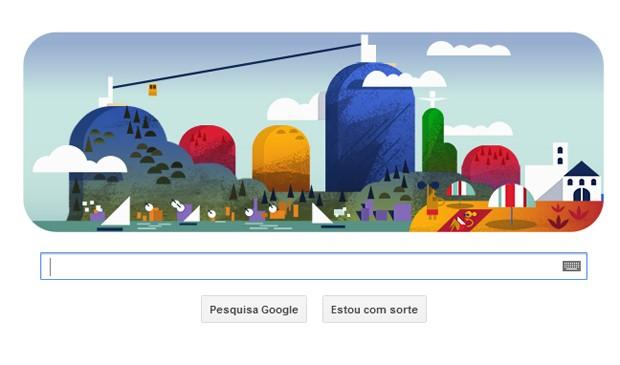 Logo do Google lembra aniversário do Bondinho (Foto: Reprodução)