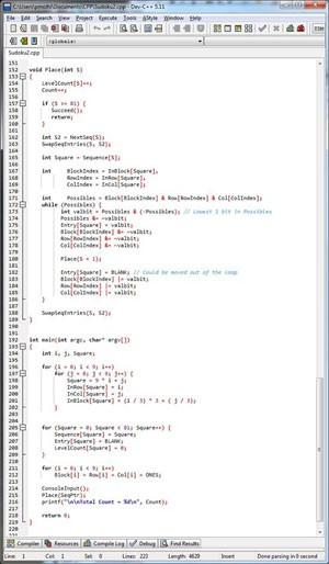 Código para solucionar Sudoku, escrito em C++ pelo primeiro-ministro da Cingapura, Lee Hsien Loong. (Foto: Divulgação/Lee Hsien Loong)