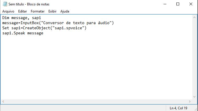 Bloco de notas pode ser usado para escrever programas em Visual Basic (Foto: Reprodução/Windows)