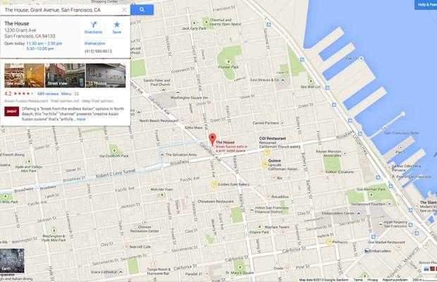 Google Maps passa a exibir fichas cadastrais dos estabelecimentos comerciais pesquisados por usuários; no mapa, apenas locais relacionados são mostrados (Foto: Divulgação/Google)