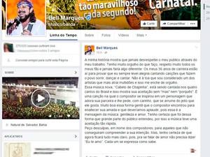 Postagem de Bell Marques sobre música Cabelo de Chapinha (Foto: Reprodução/Facebook)