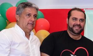 Luiz Medina, secretário de esporte, Túlio Micheli, diretor de marketing, Uberaba, basquete (Foto: Prefeitura de Uberaba)