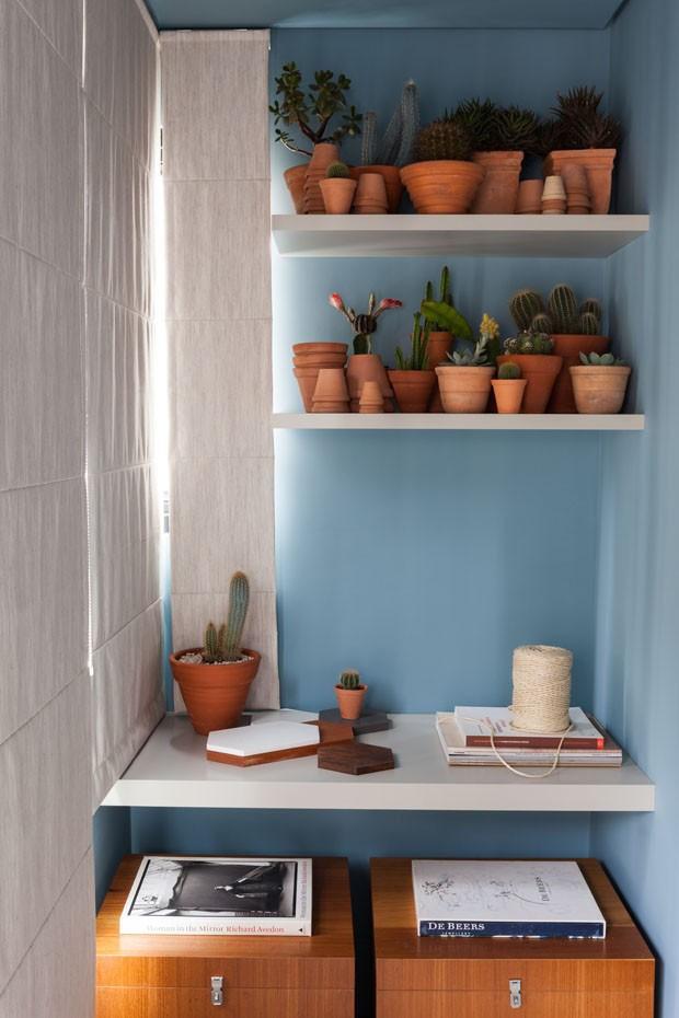 Décor do dia: estante decorada com plantas no canto da casa (Foto: Lufe Gomes/ divulgação)