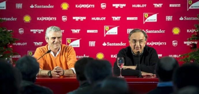 Maurizio Arrivabene e Sergio Marchionne na sede da Ferrari (Foto: Divulgação)